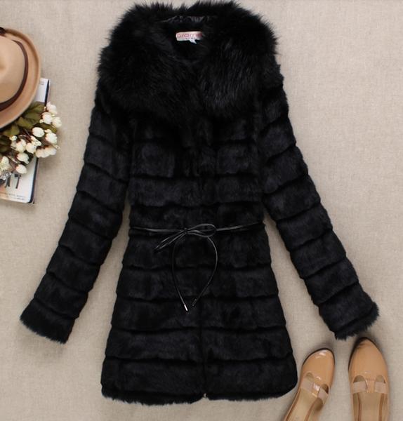 Шуба AliExpress Winter women's faux fur medium-long overcoat ...